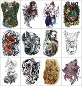 """Ganesha bear large 8.25"""" half-sleeve arm tattoo Our warehouse staffs will randomly choose assorted designs shown on the pictures"""