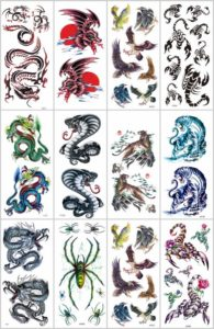 dragon spider scorpio temporary tattoo