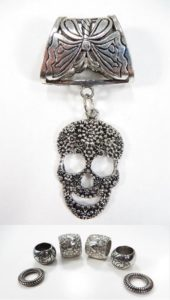 sugar skull Day of the Death pendant slider scarf rings set Jewelry findings for DIY scarves with jewelry / necklace scarf accessory