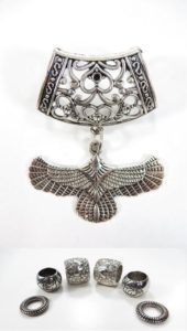 flying eagle pendant slider scarf rings set Jewelry findings for DIY scarves with jewelry / necklace scarf accessory