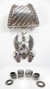 triple skull pendant slider scarf rings set Jewelry findings for DIY scarves with jewelry / necklace scarf accessory
