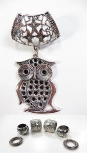 owl pendant slider scarf rings set Jewelry findings for DIY scarves with jewelry / necklace scarf accessory