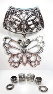 butterfly pendant slider scarf rings set Jewelry findings for DIY scarves with jewelry / necklace scarf accessory