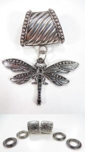 dragonfly pendant slider scarf rings set Jewelry findings for DIY scarves with jewelry / necklace scarf accessory