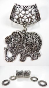 good luck elephant pendant slider scarf rings set Jewelry findings for DIY scarves with jewelry / necklace scarf accessory