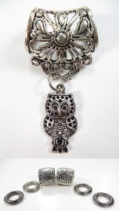 animal owl pendant slider scarf rings set Jewelry findings for DIY scarves with jewelry / necklace scarf accessory
