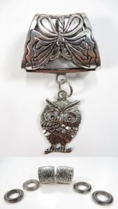 owl animal pendant slider scarf rings set Jewelry findings for DIY scarves with jewelry / necklace scarf accessory