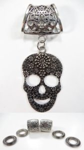 sugar skull pendant slider scarf rings set Jewelry findings for DIY scarves with jewelry / necklace scarf accessory