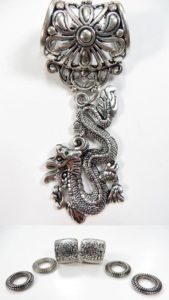 Chinese dragon pendant slider scarf rings set Jewelry findings for DIY scarves with jewelry / necklace scarf accessory