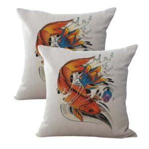 set of 2 Japanese koi carp fish cushion cover