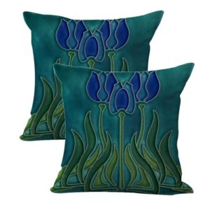 set of 2 Art Nouveau tile flower cushion cover