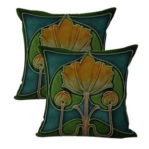 set of 2 Art Nouveau tile flower cushion cover