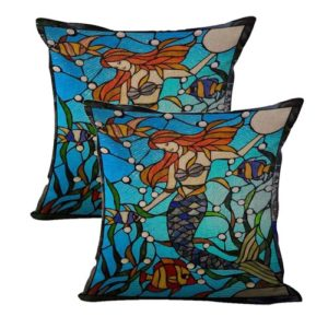 set of 2 stained glass mermaid fish sea life cushion cover