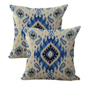 set of 2 ikat accent cushion cover