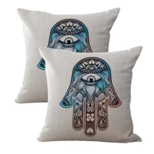 set of 2 protective symbol Hamsa galaxy cushion cover