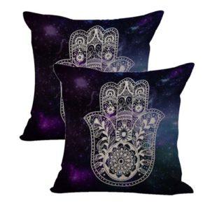 set of 2 protective symbol Hamsa galaxy cushion cover