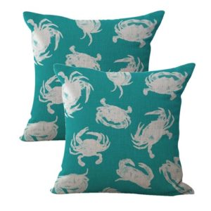 set of 2 beachside decor crab cushion cover