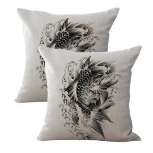set of 2 wave carp koi fish symbol of perseverance strength cushion cover