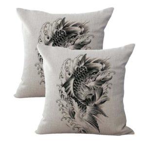 set of 2 wave carp koi fish symbol of perseverance strength cushion cover