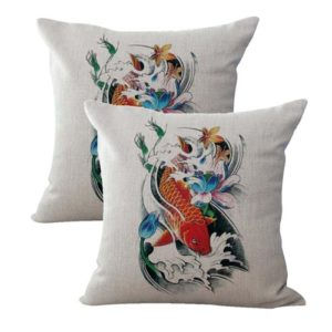 set of 2 wave carp koi fish lotus flower cushion cover