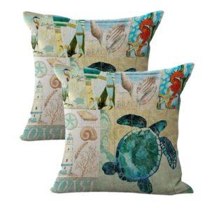set of 2 turtle shells sealife marine nautical cushion cover