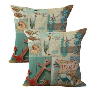 set of 2 seahorse anchor fish sea life cushion cover
