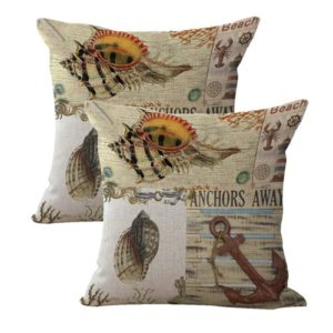 set of 2 sailor beach anchor seashell cushion cover