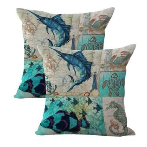 set of 2 fish turtle seahorse cushion cover