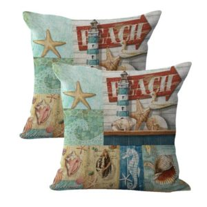 set of 2 seahorse shell sailor beach cushion cover