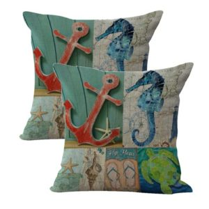 set of 2 turtle anchor sandal seahorse nautical cushion cover
