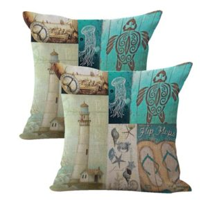 set of 2 vintage sea life cushion cover