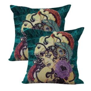 set of 2 Day Of Dead sugar skull rose cushion cover