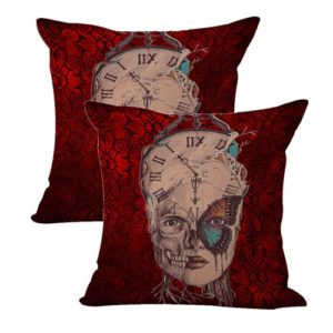 set of 2 clock butterfly women sugar skull cushion cover