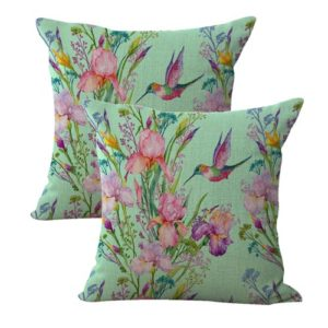 set of 2 hummingbird flower cushion cover