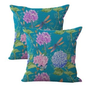 set of 2 butterfly dragonfly flower hydrangea cushion cover