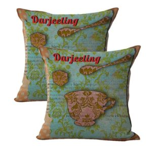 set of 2 Darjeeling teacup shabby chic cushion cover