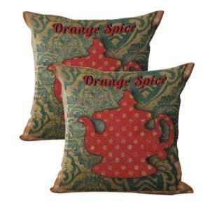 set of 2 orange spice teapot cushion cover