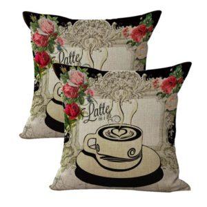 set of 2 latte English rose retro cushion cover