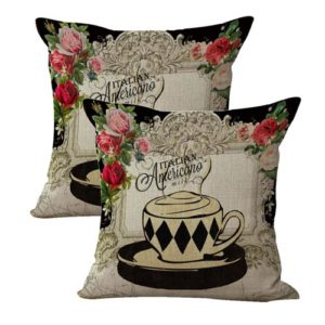set of 2 teacup English rose retro cushion cover