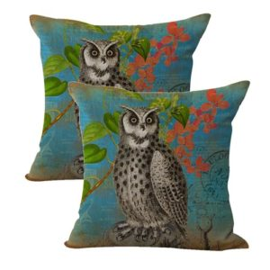 set of 2 shabby chic retro owl cushion cover