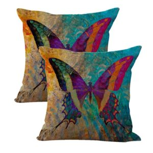 set of 2 retro butterfly cushion cover