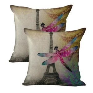 set of 2 Eiffel Tower dragonfly cushion cover
