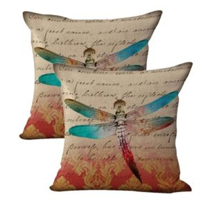 set of 2 vintage dragonfly cushion cover