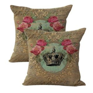 set of 2 shabby chic crown rose cushion cover