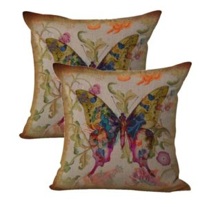set of 2 vintage butterfly cushion cover