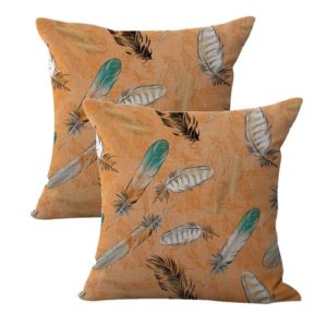 set of 2 American native tribal feather cushion cover