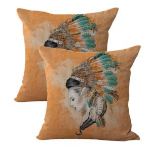 set of 2 native Indian women headdress cushion cover