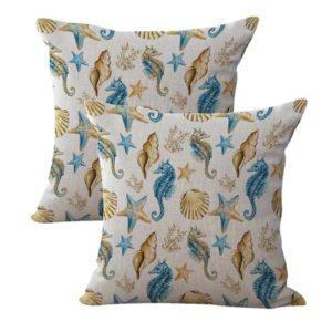 set of 2 starfish seashorse seashell cushion cover