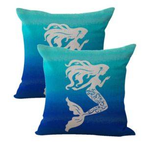 set of 2 legendary aquatic mermaid cushion cover