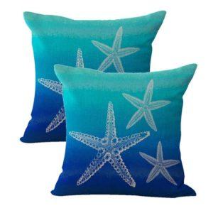set of 2 beachside sailing starfish cushion cover